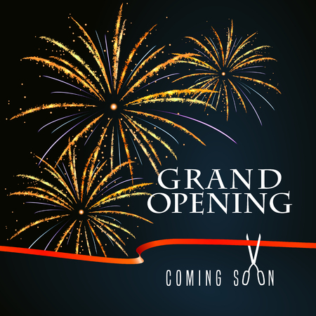 Grand opening vector illustration, background for new store, club, etc with firework and scissors cutting red ribbon. Template banner, flyer, design element, decoration for opening event Stock Illustratie