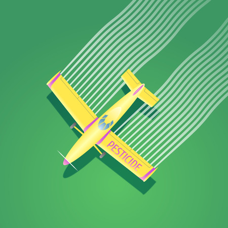 herbicide: Crop duster plane vector illustration. Aerial view of flying airplane spraying pesticide, herbicide farming field. Design concept element for pest control, cultivation, agriculture with crop duster Illustration