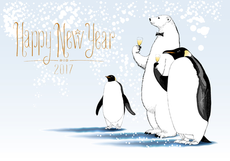 Happy New Year 2017 vector greeting card. Party of penguin, polar bear characters drinking glass of champagne funny illustration. Design element with Happy New Year sign hand drawn lettering