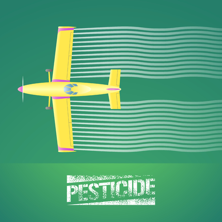 duster: Crop duster plane vector illustration. Aerial view of flying airplane spraying green farmland. Design concept element for pest, bug control, agricultural technology with pesticide sign and crop duster