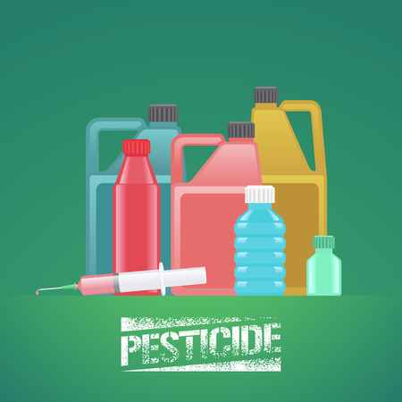 poisoned: Set of bottles with pesticide, toxic poisoned chemicals for gardening, agriculture, farming vector illustration, design element, poster Illustration