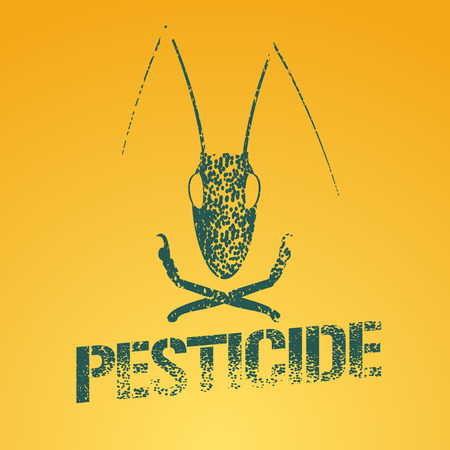 Pesticide vector logo, icon, symbol, emblem. Design element with graphic locust for agriculture, farming, gardening, pest insects control chemicals, exterminator work Illustration