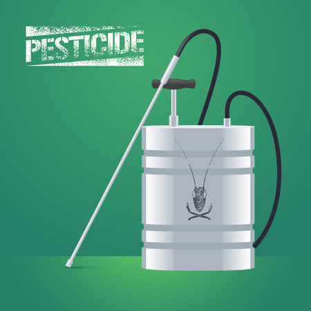 Pest insects control sprinkling equipment vector illustration for farming, gardening, agriculture. Design element of pesticide sign as stamp. Logo with insect on the sprinkler can