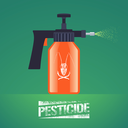 herbicide: Pest insects control spray equipment vector illustration for farming, gardening, agriculture. Design element with pesticide sign as stamp. Logo with insect on spray bottle