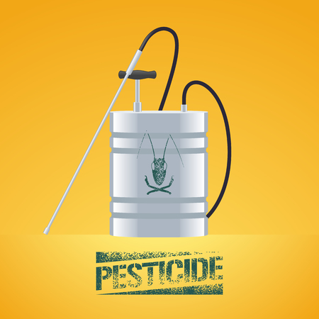 fertilize: Pest insects control sprinkling equipment vector illustration for farming, gardening, agriculture. Design element of pesticide sign as stamp