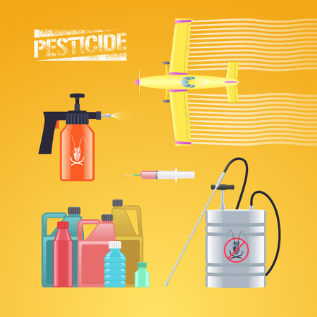 Set of icons, illustration for agriculture and farming - crop duster airplane, spray, sprinkler, bottle of pesticide, injection. Graphic logo with pesticide sign