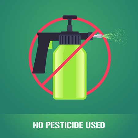 Pesticide spray in prohibition sign vector illustration. Sign, icon, emblem for eco farming, gardening, agriculture. No pesticide used sign Ilustrace
