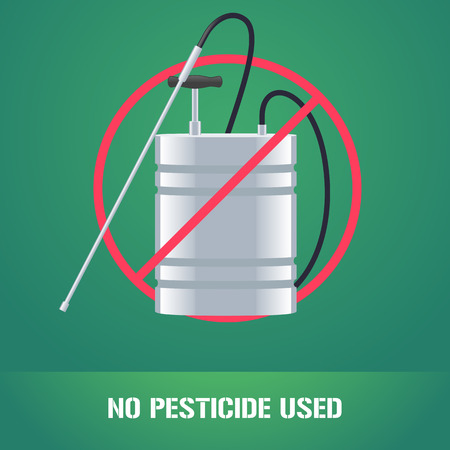 Pesticide sprinkler in prohibition sign vector illustration. Sign, icon, emblem for eco farming, gardening, agriculture. No pesticide used sign Ilustração