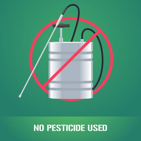 Pesticide sprinkler in prohibition sign vector illustration. Sign, icon, emblem for eco farming, gardening, agriculture. No pesticide used sign Stock Illustratie