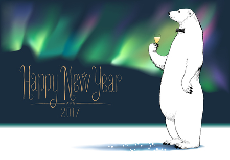 Happy new year 2017 vector greeting card. Polar bear character drinking glass of champagne, Northern lights on background funny illustration. Design element with Happy New Year hand drawn lettering