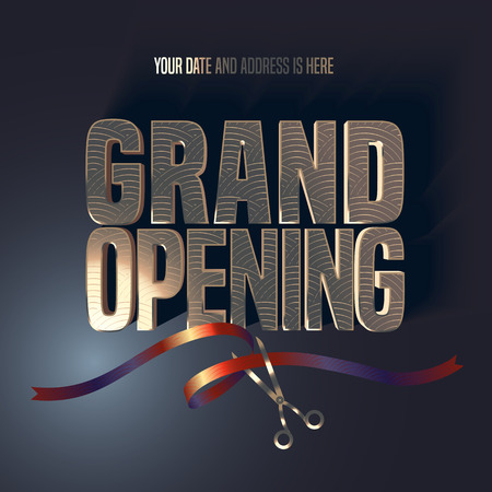 Grand opening vector illustration, background, banner. Design element with elegant premium style sign, scissors cutting red ribbon for opening ceremony