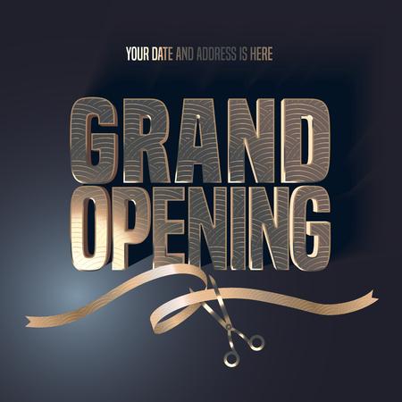 グランド オープンのベクトル イラスト、背景に金色のレタリング サイン、はさみカット リボン。テンプレートのバナー、チラシ、デザイン要素、  イラスト・ベクター素材