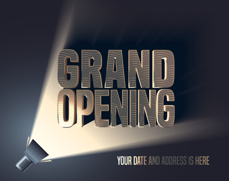 Grand opening vector illustration, background with flashlight and golden elegant lettering sign. Template banner, flyer, design element, decoration for opening event Ilustrace