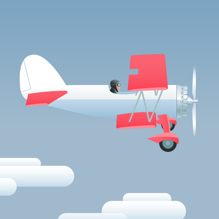 fuselage: Retro style airplane vector illustration. Design element for travel, flight show, air transportation related business with vintage biplane and pilot