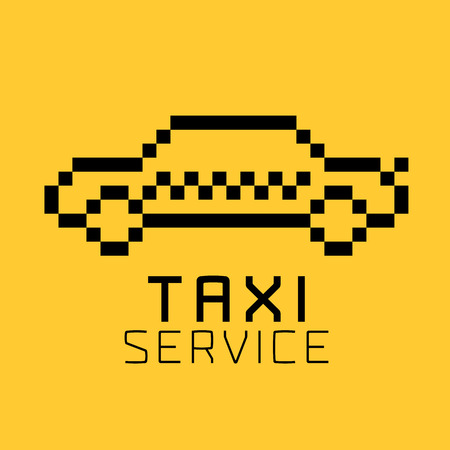 Taxi, cab vector, icon, design. Street car hire, taxicab black and yellow background, badge, app emblem. Silhouette of taxi made with pixels
