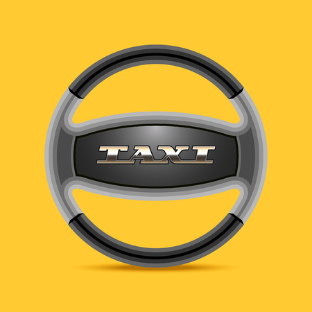 black cab: Taxi, cab vector, icon, background. Car hire black and yellow badge, app, emblem. Steering wheel with sign taxi design element Illustration