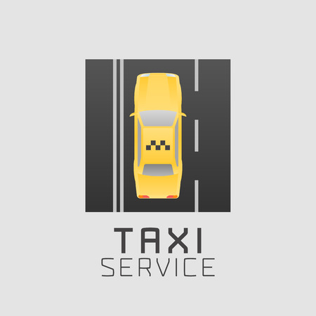Taxi Cab Vector Icon Car Hire Black And Yellow Background