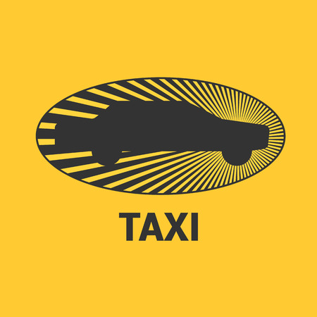 black cab: Taxi, cab vector, design. Car hire black and yellow background, badge, app emblem. Silhouette of car and sun taxi graphic icon