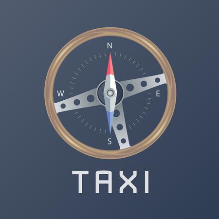 Taxi Cab Vector Logo Icon Car Hire Black Background Badge