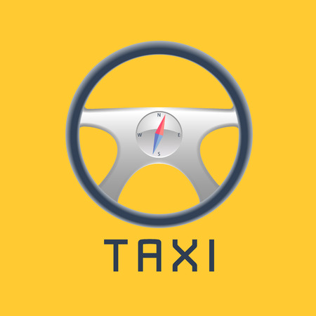black cab: Taxi, cab vector, background. Car hire black and yellow background, badge, app emblem. Steering wheel, compass, taxi sign design elements Illustration