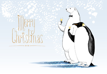 Merry Christmas vector seasonal greeting card. Penguin, polar bear characters drinking glass of champagne funny illustration. Design element with Merry Christmas sign hand drawn lettering
