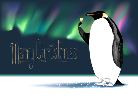 aurora borealis: Merry Christmas vector greeting card. Penguin character drinking glass of champagne, Northern lights on background funny illustration. Design element with Merry Christmas sign hand drawn lettering Illustration
