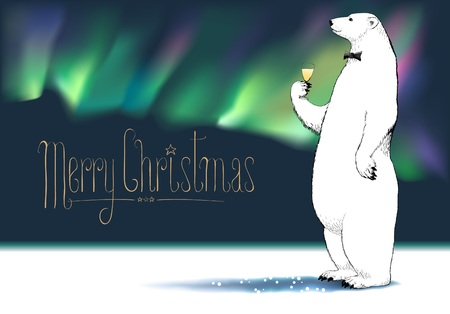 Merry Christmas vector greeting card. Polar bear character drinking glass of champagne, Northern lights on background funny illustration. Design element with Merry Christmas sign hand drawn lettering