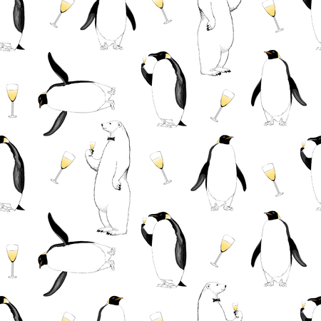 New Year 2017, Christmas vector seamless pattern with penguin, polar bear and glass of champagne. Hand drawn design element for packaging, wrapping paper, wallpaper, background