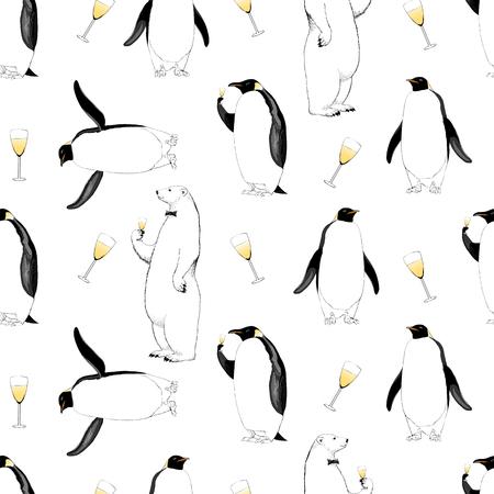 Nouvel an 2017, modèle sans couture de vecteur de Noël avec pingouin, ours polaire et verre de champagne. Élément de design dessiné main pour emballage, papier d'emballage, papier peint, arrière-plan Banque d'images - 62697627
