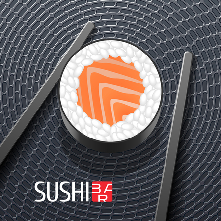 roll bar: Sushi vector template logo, icon, symbol, sign. Design element with roll closeup and chopsticks for sushi bar, seafood or Japanese restaurant
