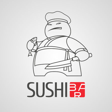 eat healthy: Sushi vector logo, icon, symbol, logotype. Graphic design element with thin line cooking chef for sushi bar, Japanese restaurant menu decoration
