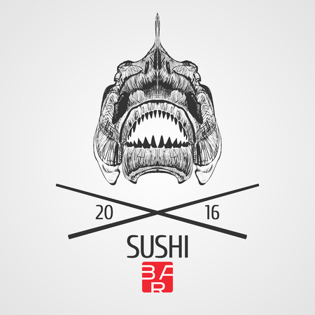 Sushi vector template logo, icon, symbol. Isolated design element, illustration with grunge style fish skeleton and chopsticks for sushi bar, seafood or Japanese restaurant menu
