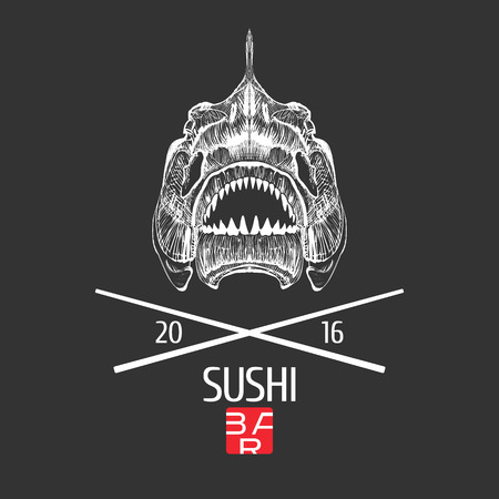 Sushi vector template logo, icon, emblem. Design element, illustration with exotic grunge style fish skeleton head for sushi bar, Japanese or seafood restaurant menu