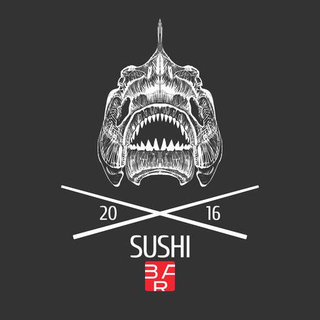 Vecteur Sushi modèle logo, icône, emblème. élément de design, illustration avec exotique style grunge tête de squelette de poisson pour le menu sushi bar, un restaurant japonais ou de fruits de mer Banque d'images - 62697665