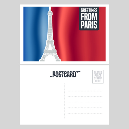 postcard: France, Paris vector postcard design with Eiffel tower and French flag. Template illustration, element, nonstandard vacation postcard with copyspace, mark, stamp and Greetings from Paris sign