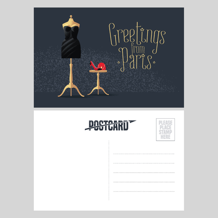 little black dress: France, Paris vector postcard design with little black dress. Template illustration, element, nonstandard vacation postcard with copyspace and Greetings from Paris sign