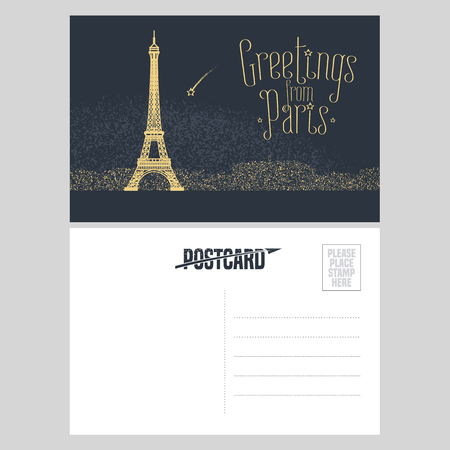 postcard: France, Paris vector postcard design with Eiffel tower and lights at night. Template illustration, element, nonstandard mail postcard with copyspace, mark, stamp and Greetings from Paris lettering Illustration