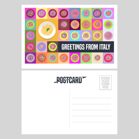 postcard: Italy, Rome vector postcard design with plate of spaghetti pasta. Template illustration, element, nonstandard mail postcard with copyspace, post office stamp and Greetings from Italy sign