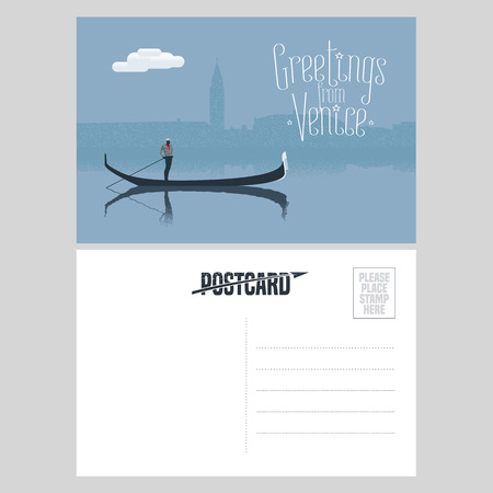 postcard: Italy, Venice vector postcard design with gondola and gondolier at Venice canal. Illustration, nonstandard mailing postcard with copyspace, post office stamp and Greetings from Venice sign Illustration