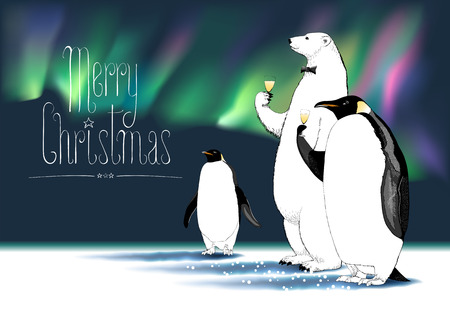 aurora borealis: Merry Christmas vector greeting card. Penguin, polar bear cute characters drinking glass of champagne, Northern lights on background, at a Christmas party funny illustration