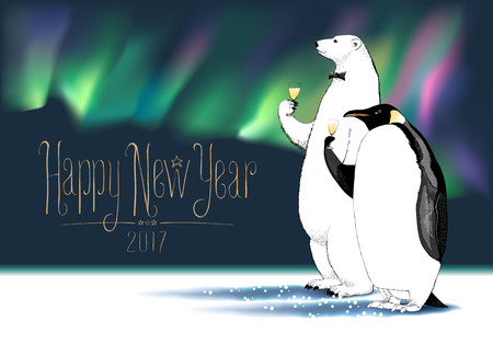 Happy New Year 2017 vector greeting card. Penguin, polar bear characters drinking glass of champagne, Northern lights on background, at a New Year party funny illustration Stock Illustratie