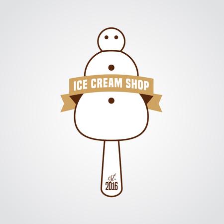 Original ice cream vector logo, sign, symbol, icon, emblem. Template design element with snowman as ice cream and retro ribbon