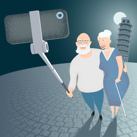 pisa tower: Group of old people making selfie snapshot with cellphone and stick on Italian Pisa tower background vector illustration. Senior people, elderly persons, old people concept visual Illustration