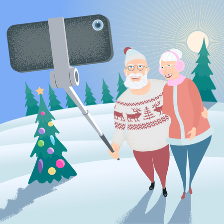 older woman smiling: Old people making selfie with phone and stick on winter forest background vector illustration. Senior people, elderly pensioners, old people concept visual