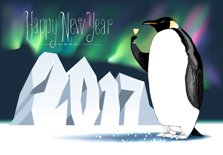 Happy new year 2017 vector seasonal greeting card. Penguin with champagne, wine funny nonstandard celebration illustration. Design element with Happy New Year hand drawn lettering and number 2017
