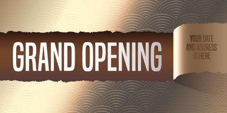 tear off: Grand opening, illustration,  poster. Elegant template design element with golden paper tear off for opening ceremony, shop, club startup Illustration