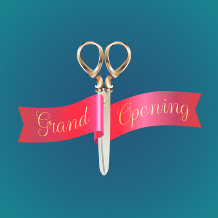 ribbon cutting: Grand opening, opening soon  illustration,  poster. Nonstandard design element for scissors and red ribbon cutting for opening ceremony Illustration