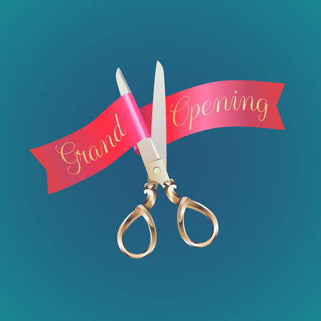 ribbon cutting: Grand opening, opening soon  illustration, poster. Nonstandard design element for scissors and red ribbon cutting for opening ceremony
