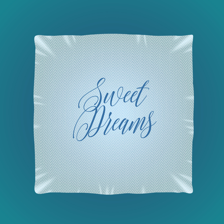 bedding: Bed pillow illustration, icon, design element with sweet dreams sign. Bedding, cushion, linen in square shape Illustration