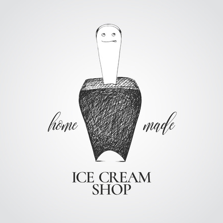 Ice cream  sign, emblem. Nonstandard, unusual design element with graphic chocolate ice cream smiling character and lettering Illustration